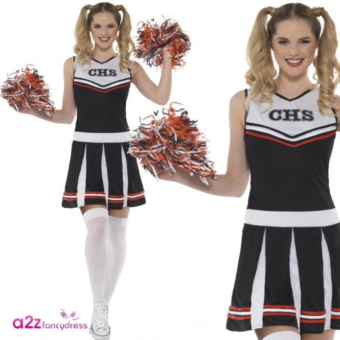 Cheerleader (Black) - Adult Costume