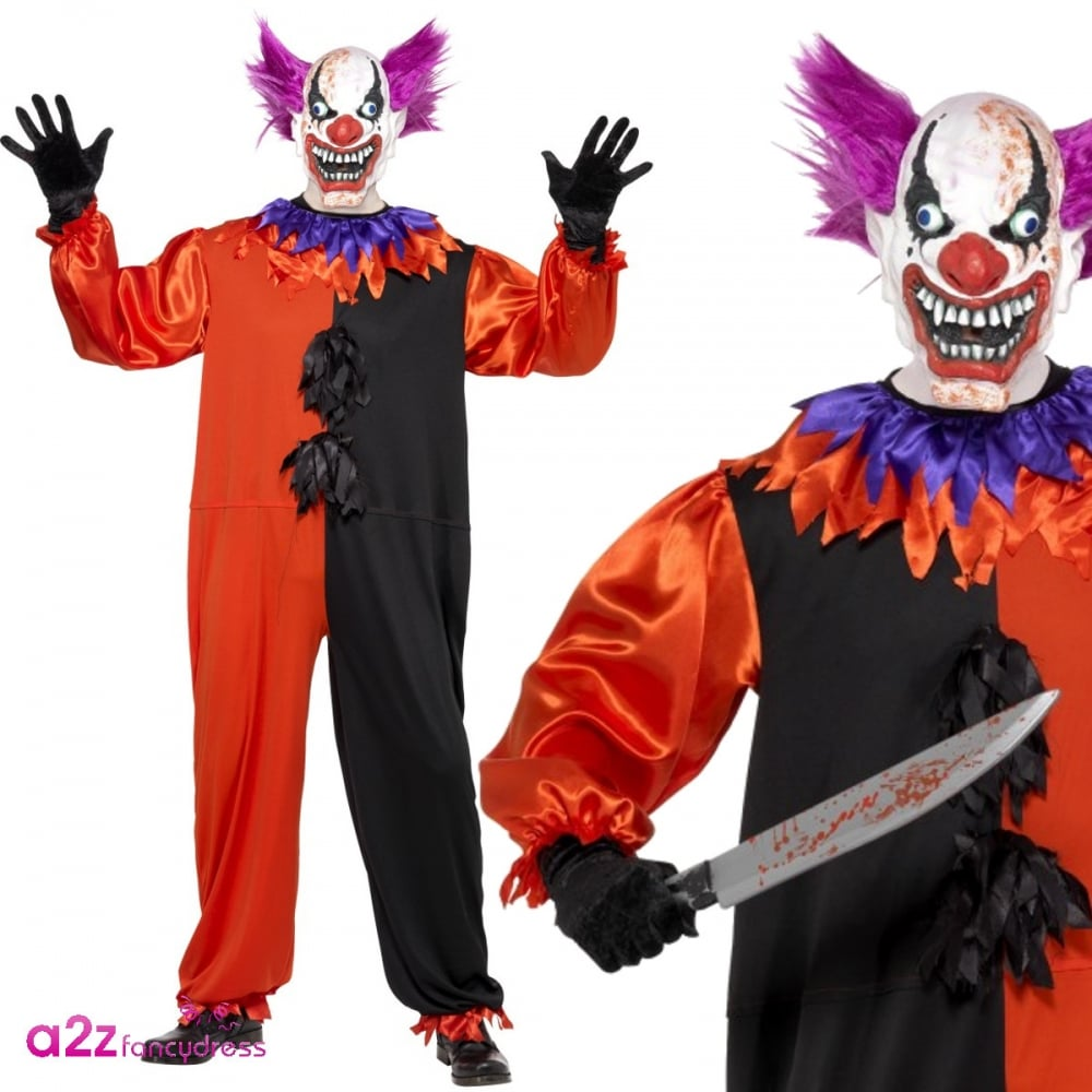 Cirque Sinister Scary Bo Bo The Clown Halloween Adults Mens Fancy Dress Costume