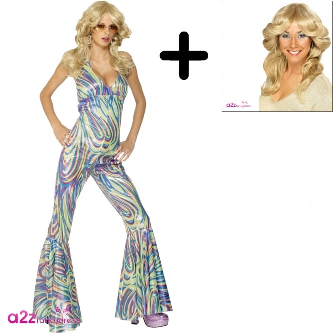 Dancing Queen Catsuit - Adult Costume Set (Costume & Wig)