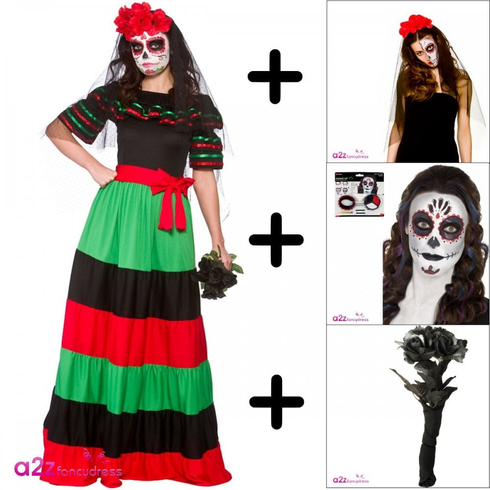 7ffd3611fa07 Day Of The Dead Senorita - Adult Costume Set (Costume, Rose Veil, Make-Up,  Bouquet)) - Costume Sets from A2Z Fancy Dress UK
