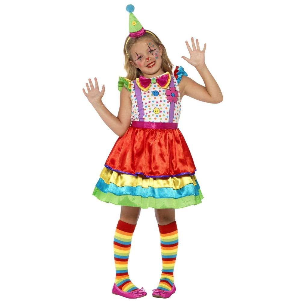 Girls Deluxe Clown Girl Fancy Dress Costume Party Outfit
