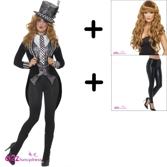Deluxe Dark Miss Hatter - Adult Costume Set (Costume, Wig, Leggings)