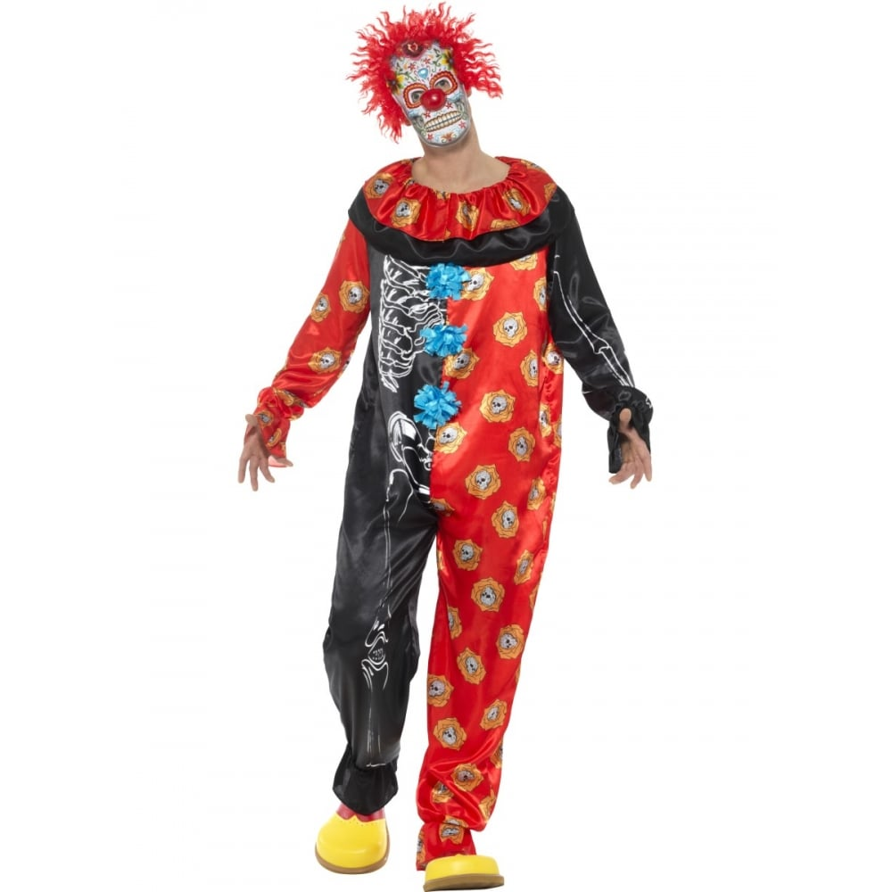 deluxe day of the dead clown - adult costume - mens costumes from