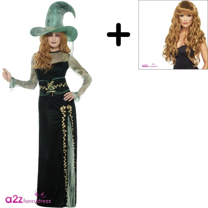 Deluxe Emerald Witch - Adult Costume Set (Costume, Wig)