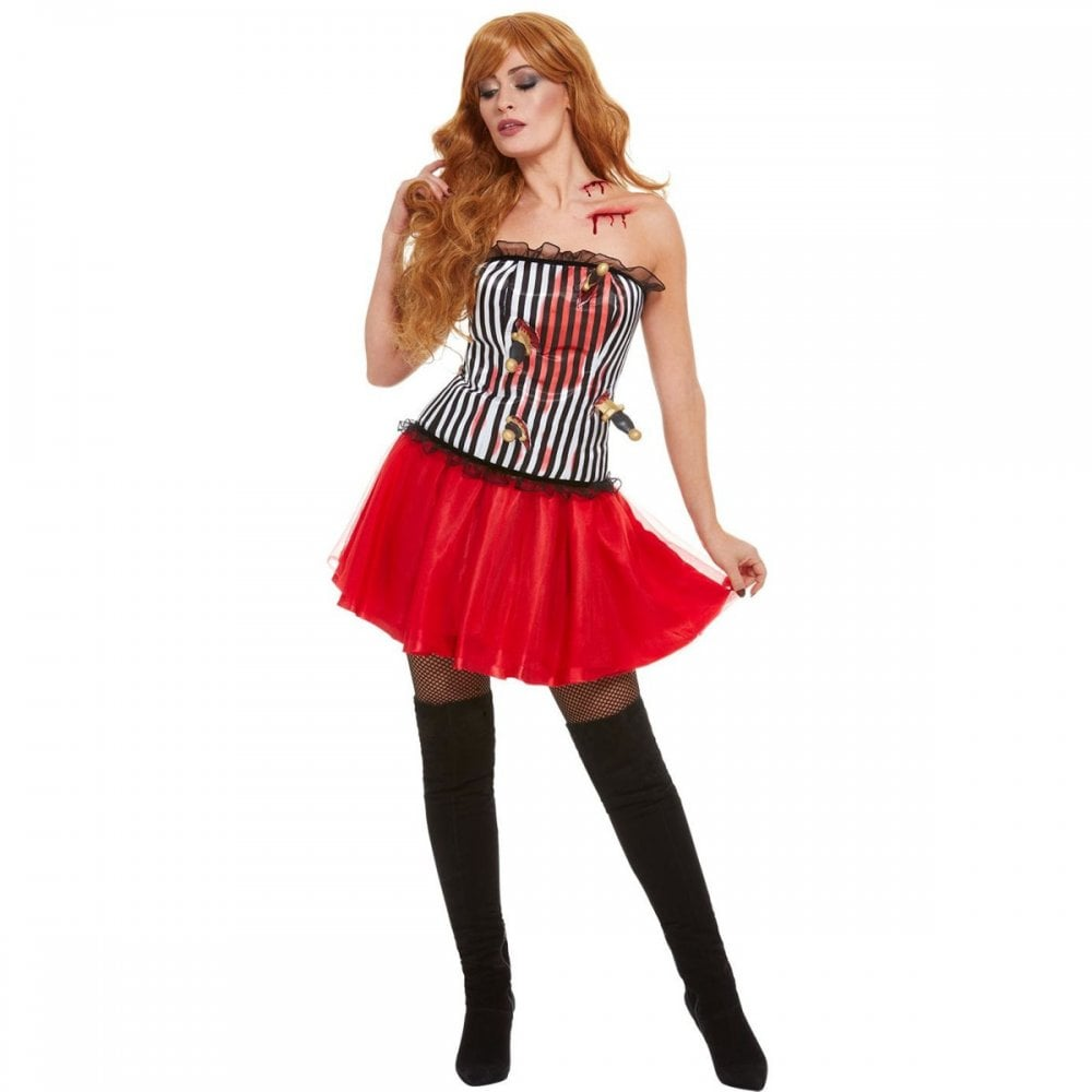 afd43e8d7ff Deluxe Knife Throwers Assistant - Adult 3 Piece Costume Set (Costume,  Fishnet Tights, Siren Wig)