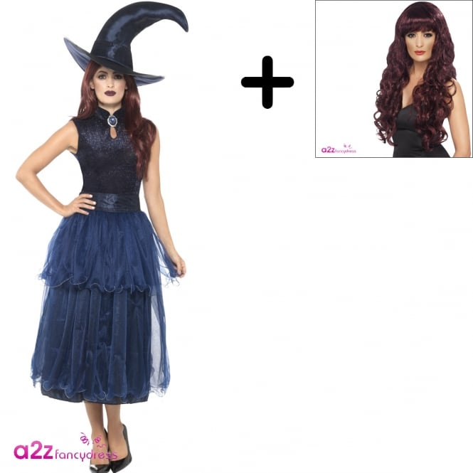 Deluxe Midnight Witch - Adult Costume Set (Costume, Wig)