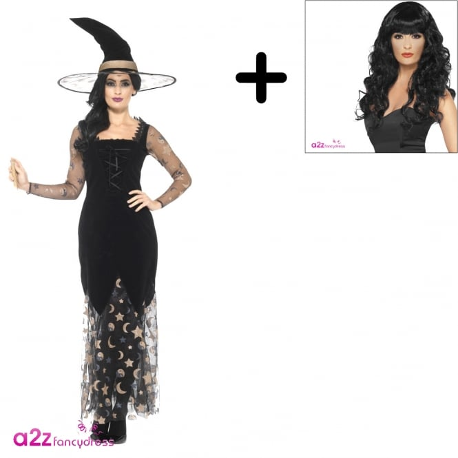 Deluxe Moon & Stars Witch - Adult Costume Set (Costume, Wig)