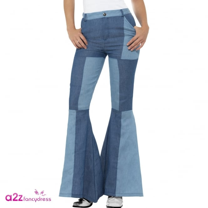 Deluxe Patchwork Denim Look Flared Trousers - Adult Ladies Costume