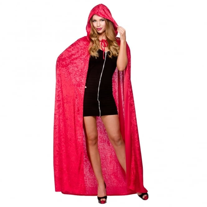 Deluxe Red Velvet Cape With Hood - Adult Accessory