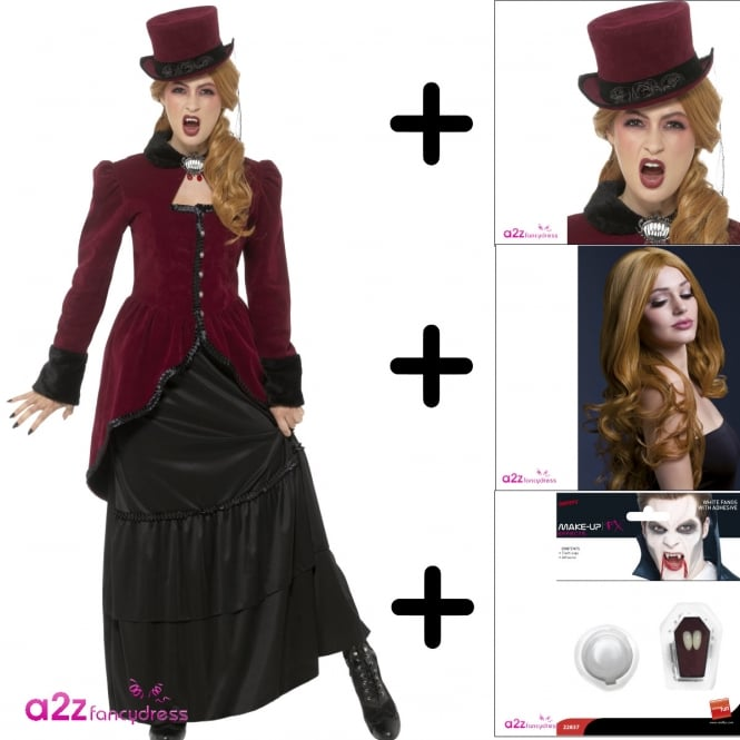 Deluxe Victorian Vampiress - Adult Costume Set 2 (Costume, Hat, Wig, Fangs)