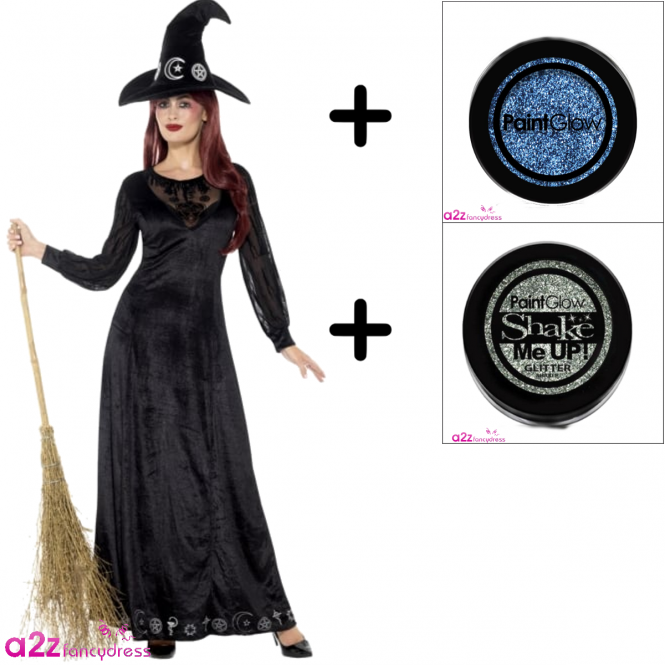 Deluxe Witch Craft - Adult Costume Set (Costume + Glitter)