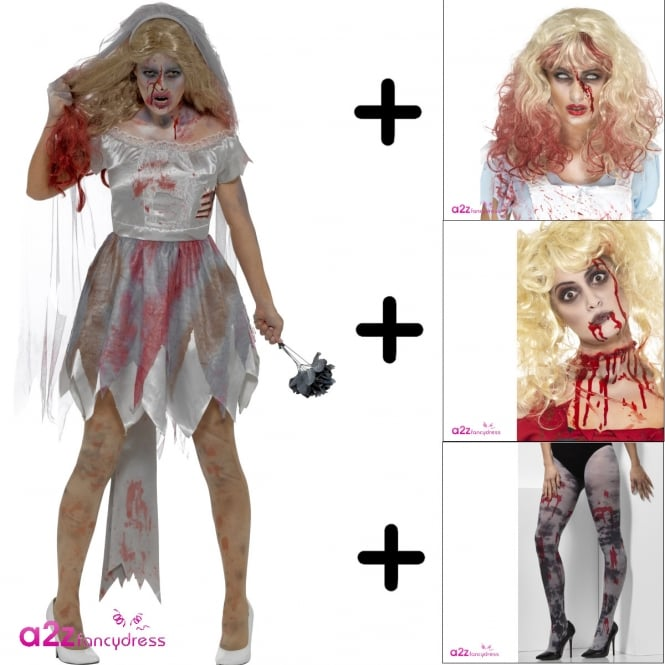 Deluxe Zombie Bride - Adult Costume Set (Costume, Wig, Tights, Make Up, Bouquet)