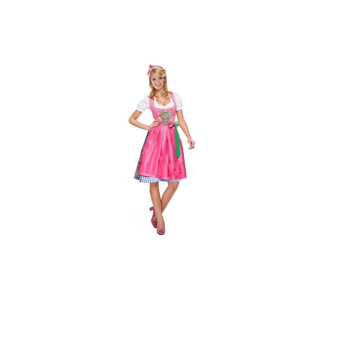 Dirndl Bavarian Lady - Green/Pink Dress - Adult Costume