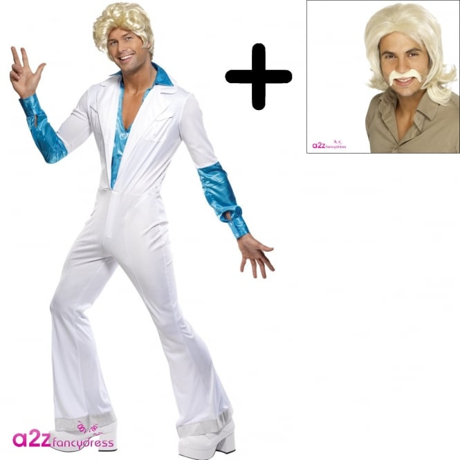 Disco Man Suit - Adult Costume Set (Costume & Blonde Wig)