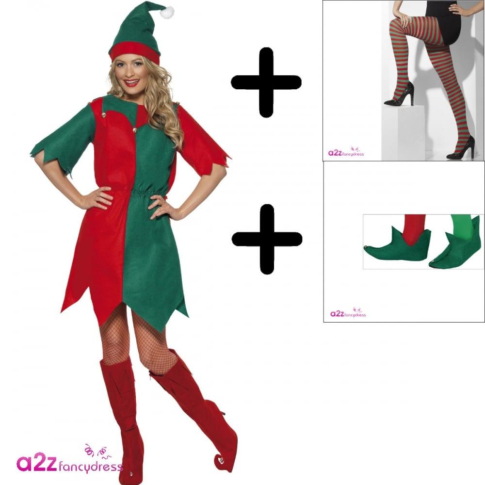 Elf boot Fency Dress Costume Shoes Christmas Adult Deluxe SANTA/'S HELPER