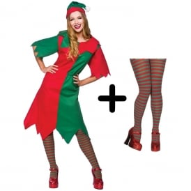 Elf Lady - Adult Costume Set (Costume, Red/Green Striped Tights)