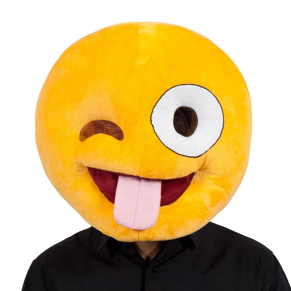 Emoji crazy mascot head adult accessory