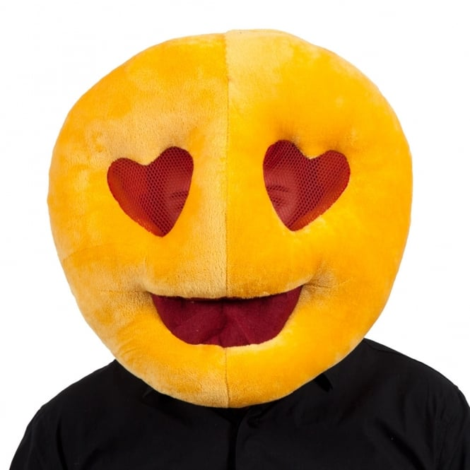 Emoji Love Heart Eyes Mascot Head - Adult Accessory