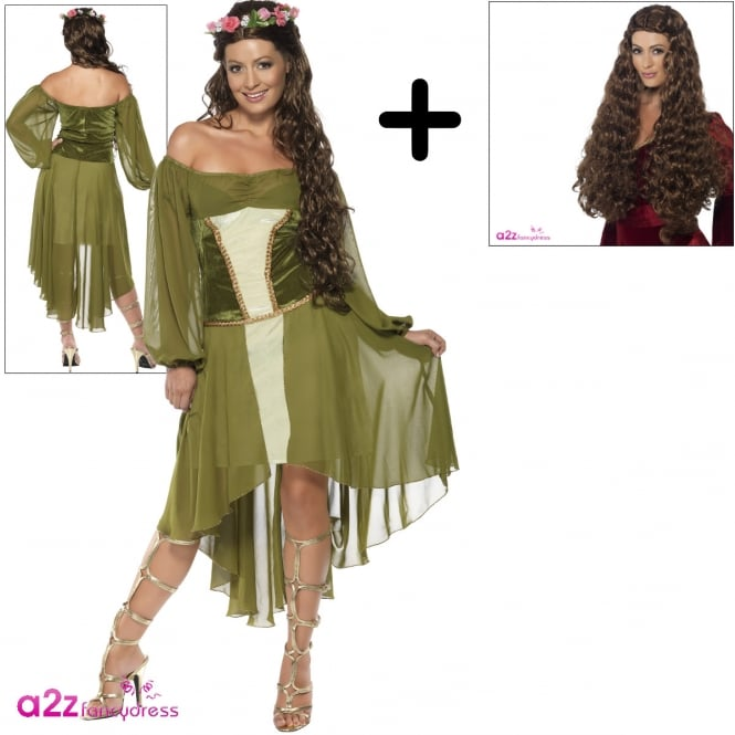 Fair Maiden (Green) - Adult Costume Set (Costume, Wig)