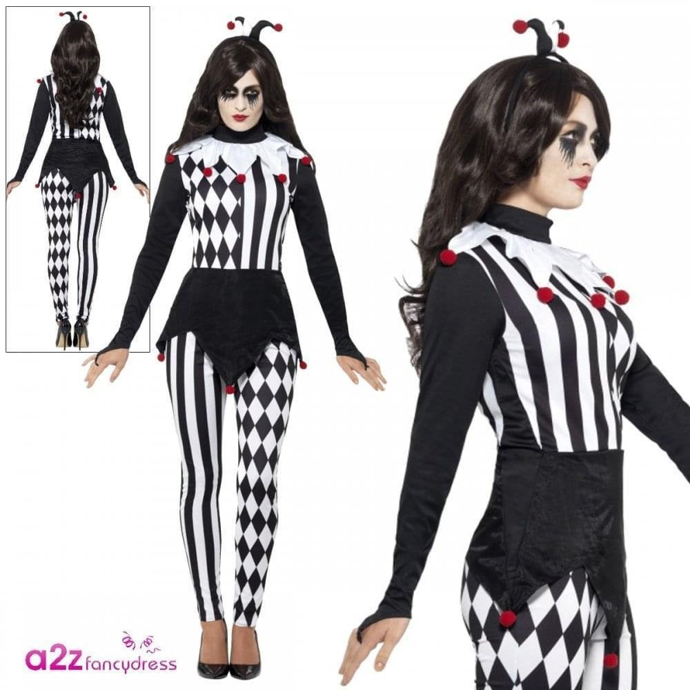 Woman Sinister Pierrot COSTUME HOLD-UPS MAKE-UP Halloween Circus Fancy Dress