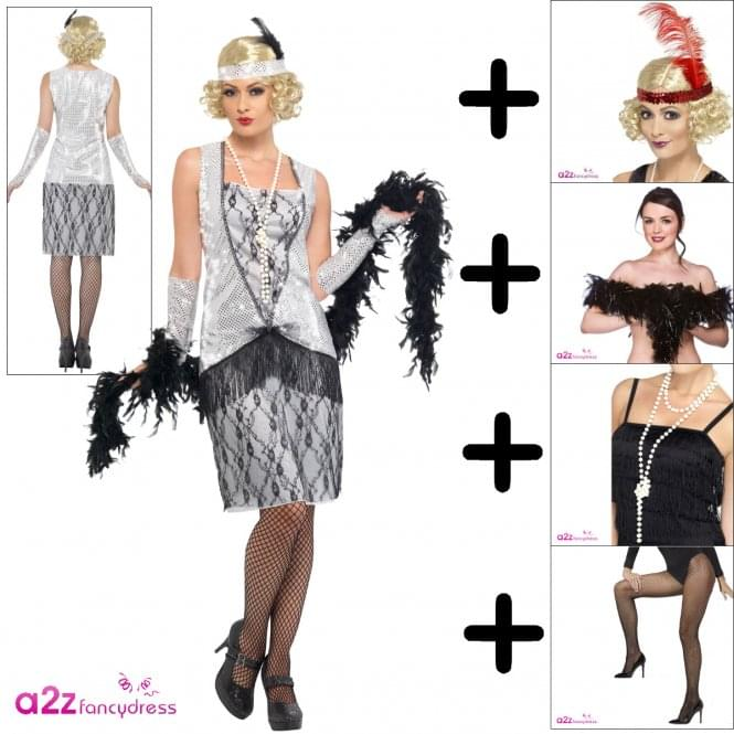 Flapper - Adult Costume Set 1 (Costume, Wig, Fishnet Tights, Boa, Necklace)