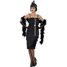 Flapper (Black - Long) - Adult Costume