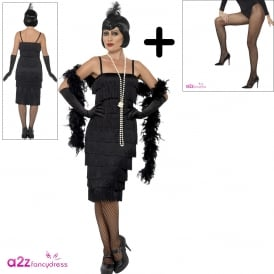 Flapper (Black - Long) - Adult Costume Set (Costume, Fishnet Tights)