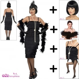 Flapper (Black - Long) - Adult Costume Set (Costume, Tights, Wig, Boa, Necklace)