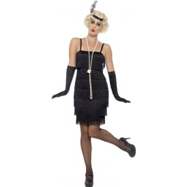 Flapper (Black - Short) - Adult Costume