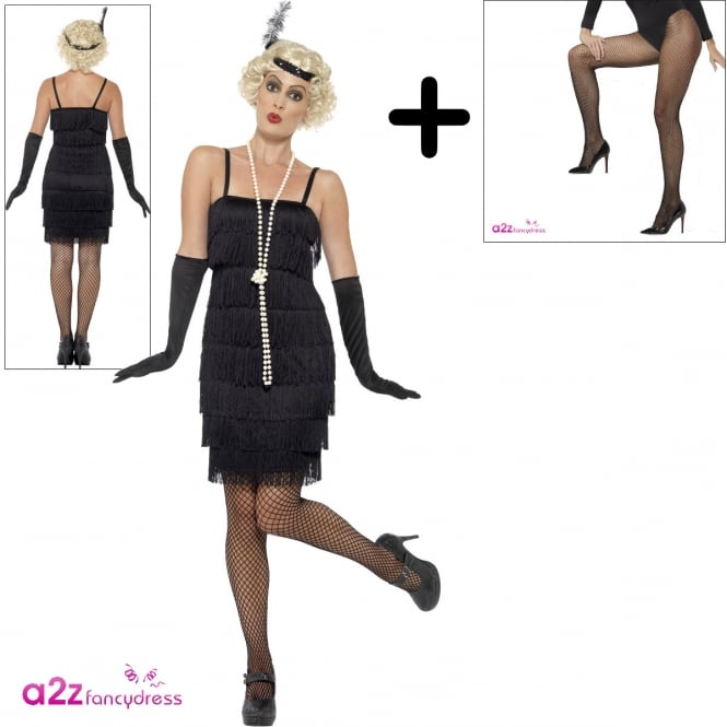 Flapper (Black - Short) - Adult Costume Set (Costume, Tights)