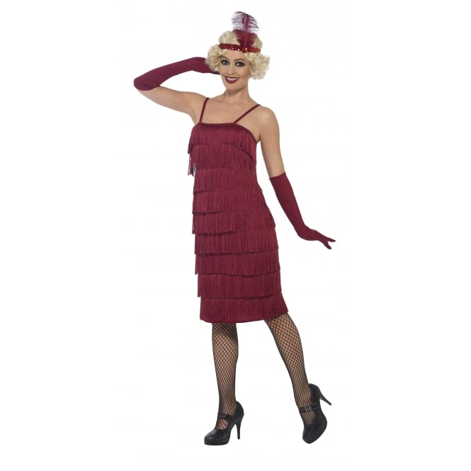 Flapper (Burgundy Red - Long) - Adult Costume