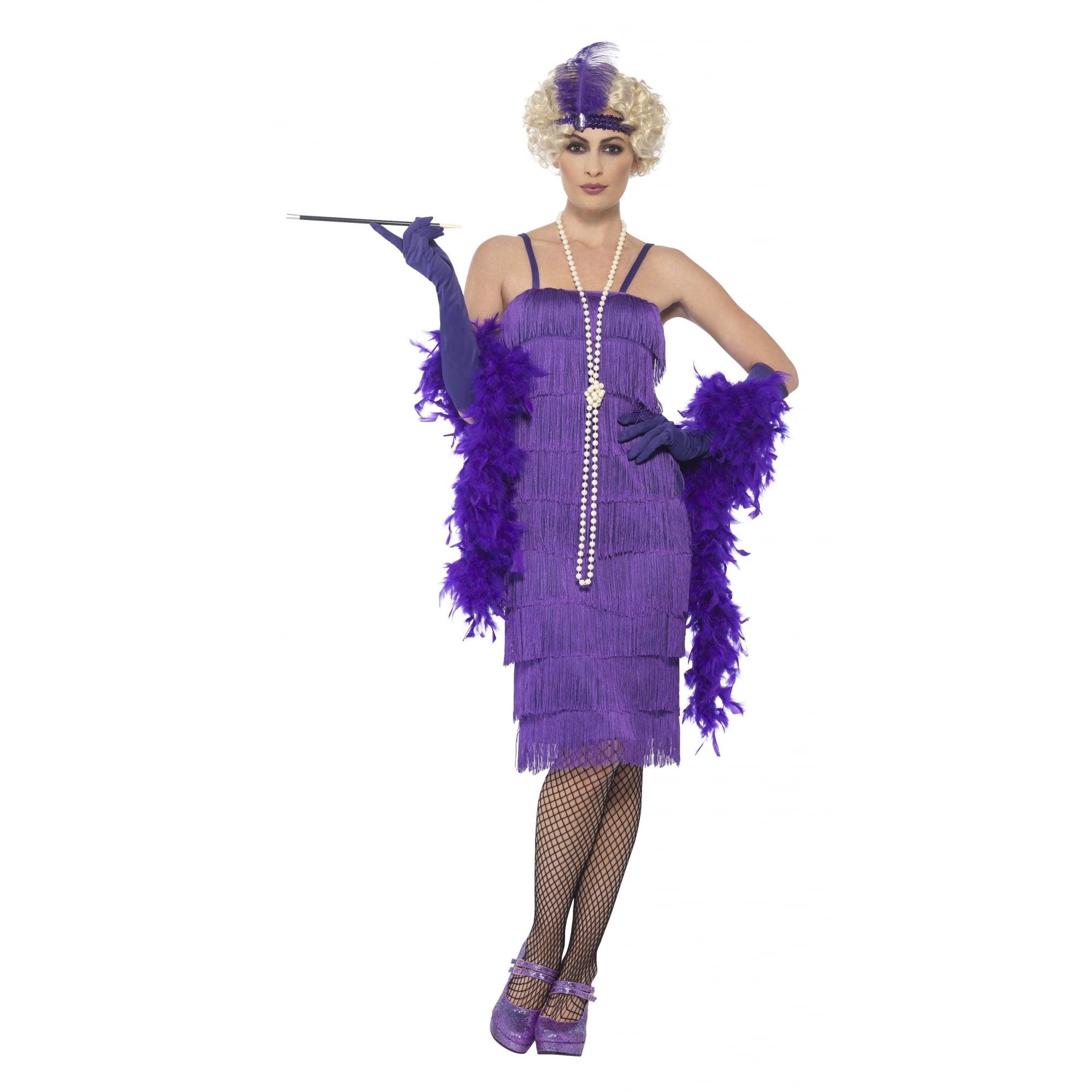 Long Teal Flapper Costume Ladies 1920s Fancy Dress Outfit 20s Flapper S-XXL