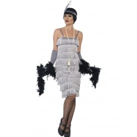 Flapper (Silver - Long) - Adult Costume