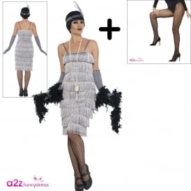 Flapper (Silver - Long) - Adult Costume Set (Costume, Fishnet Tights)