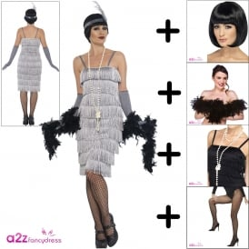 Flapper (Silver - Long) - Adult Costume Set (Costume, Wig, Boa, Tights, Necklace)