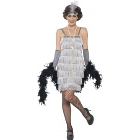 Flapper (Silver - Short) - Adult Costume