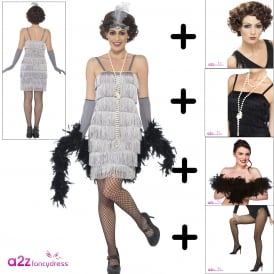 Flapper (Silver - Short) - Adult Costume Set 1 (Costume, Brown Wig. Tights, Black Boa, Necklace)