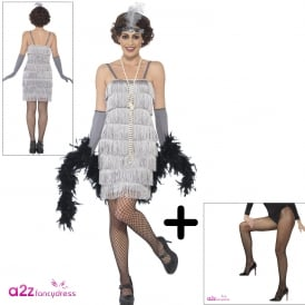 Flapper (Silver - Short) - Adult Costume Set (Costume, Tights)