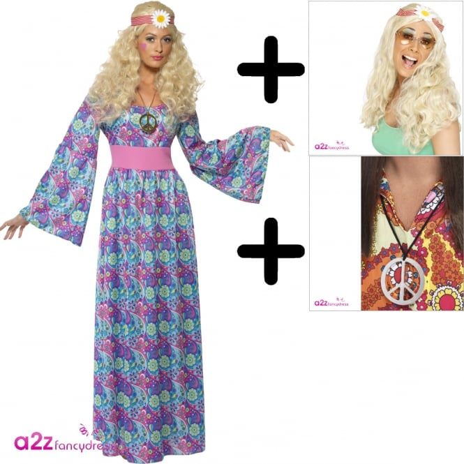 Flower Child - Adult Costume Set (Dress, Wig & Medallion)