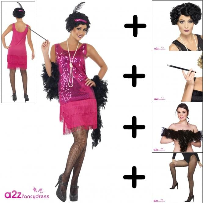 Funtime Flapper - Adult Costume Set 1 (Costume, Wig, Tights, Boa, Cig Holder)