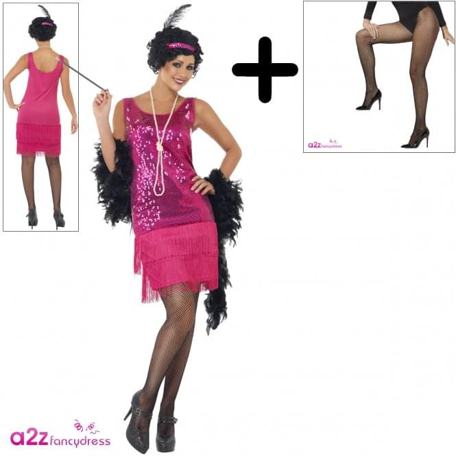 Funtime Flapper - Adult Costume Set (Costume, Fishnet Tights)
