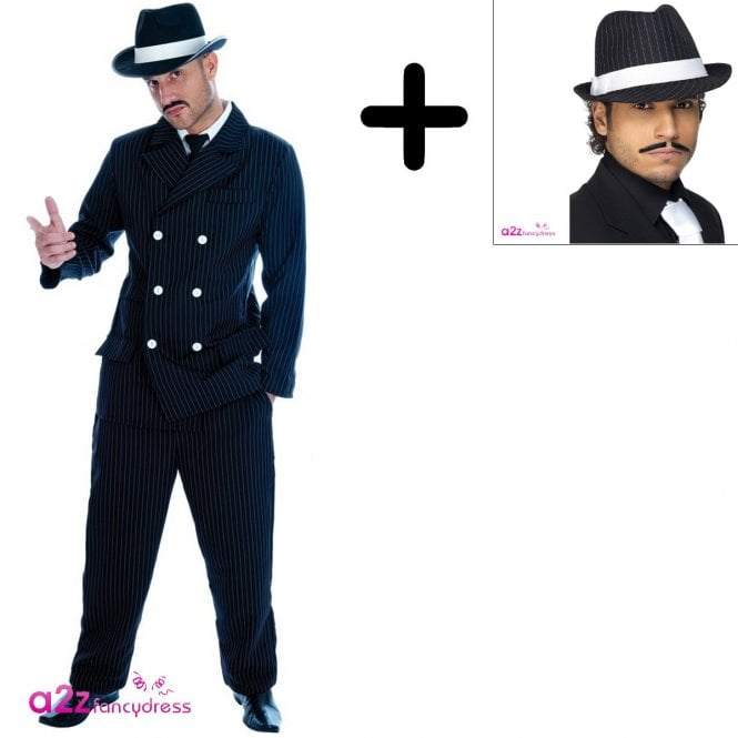 Gangster - Adult Costume Set (Costume, Trilby Hat)
