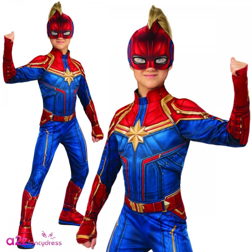 Girls Hero Suit Classic New 2019 Captain Marvel Kids Costume Kids Costumes From A2z Fancy Dress Uk With the release of the first photo of brie larson in costume in the upcoming captain marvel film (it was a candid set photo, so we don't know for sure what the context of the costume will be), it made us think about the many different. girls hero suit classic new 2019 captain marvel kids costume