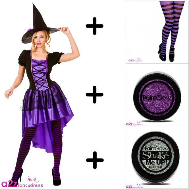 Glamourous Witch - Adult Costume Set (Costume, Tights, Glitter)