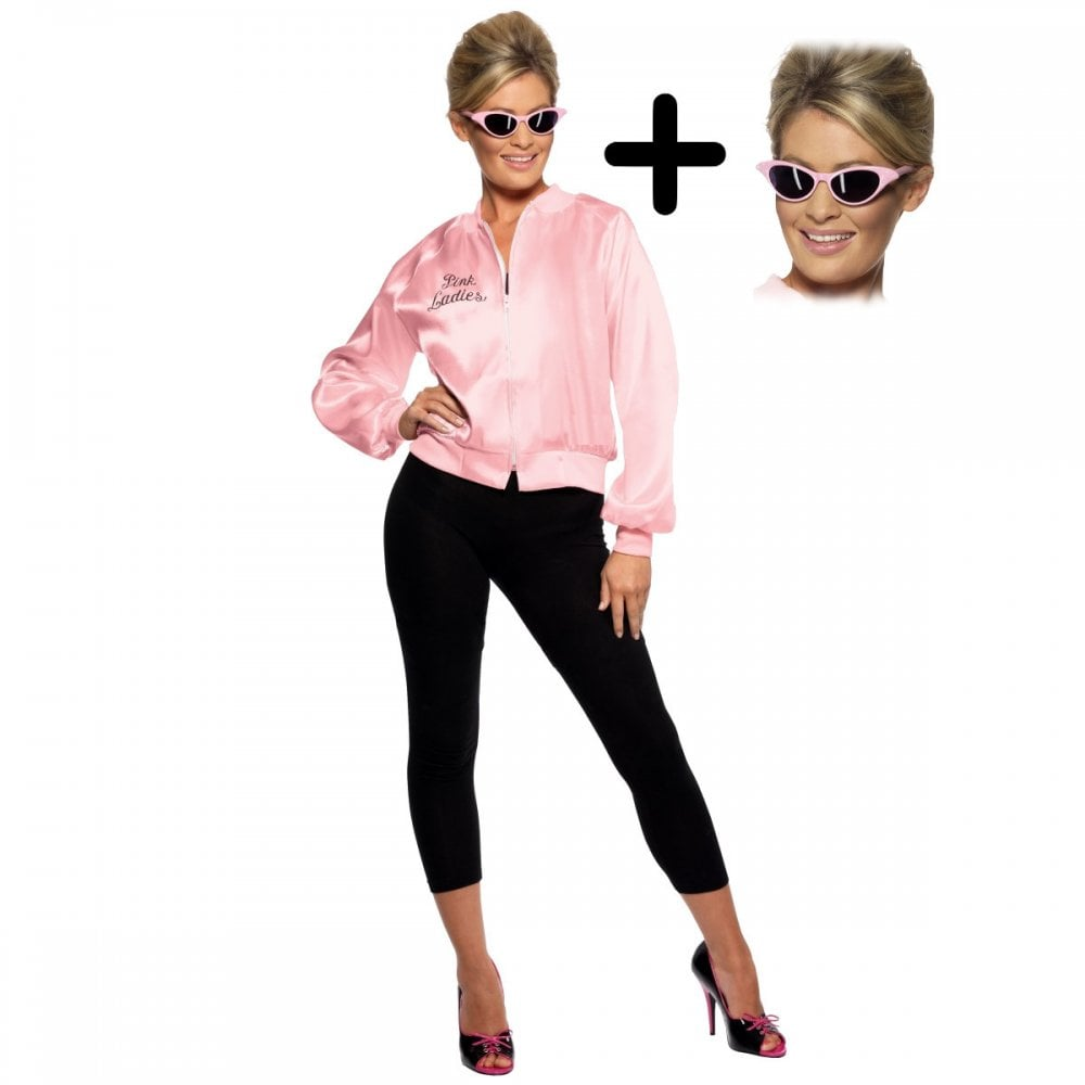 50S 60S pink ladies fancy dress fly away glasses grease shades costume girls a+