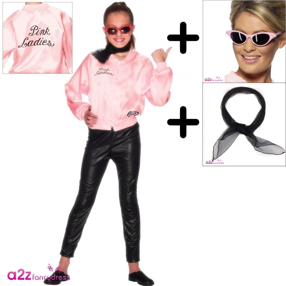 a30634680 Grease Pink Ladies Jacket - Kids Costume Set (Costume, Black Scarf,  Sunglasses)