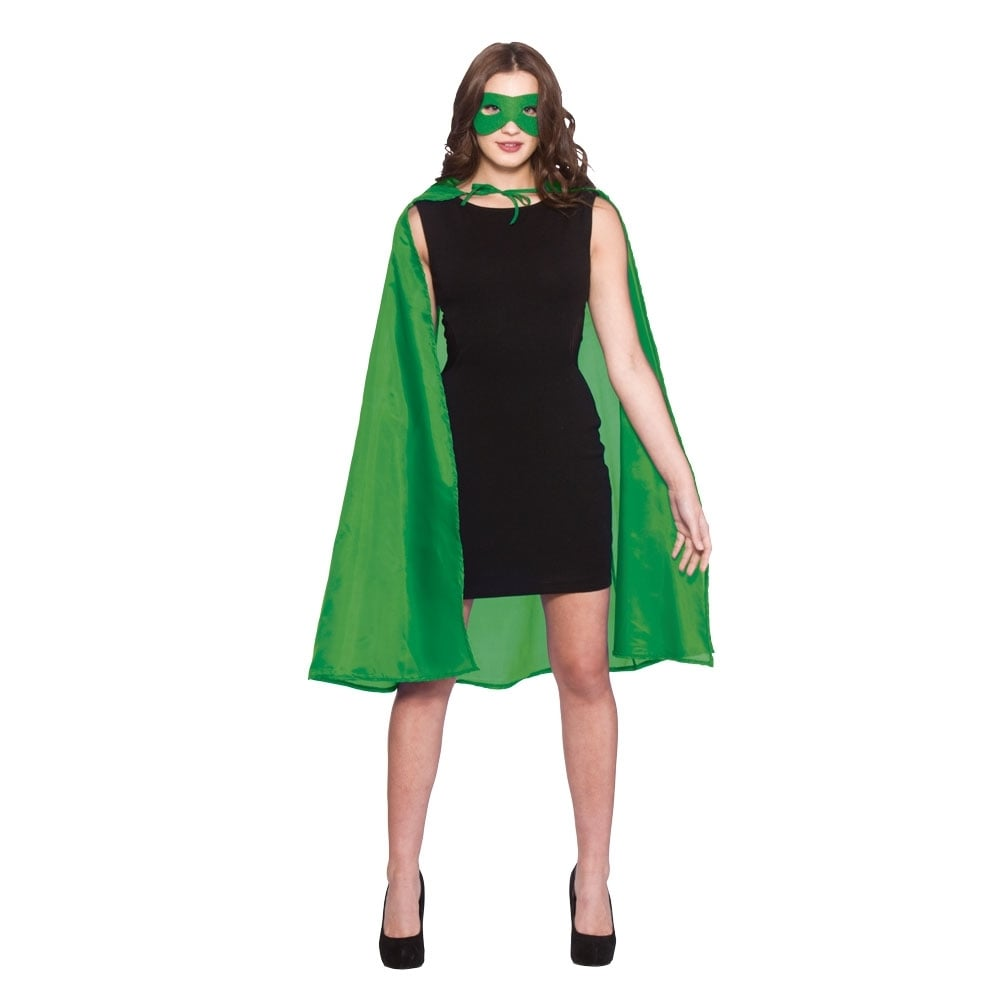 "60/"" Adult Green Superhero Cape /& Mask Costume Set ~ HALLOWEEN COSTUME PARTY"