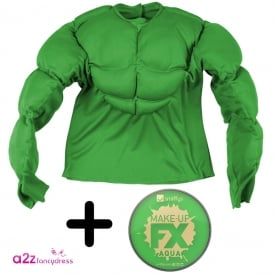 Green Super Muscle Shirt - Adult Costume Set (Costume, Facepaint)