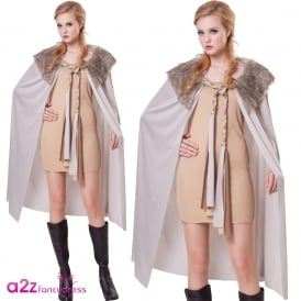 Grey Deluxe Plush Fur Collared Ladies Short Cape - Adult Accessory