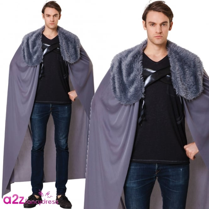 Grey Fur Collared Cape - Adult Accessory